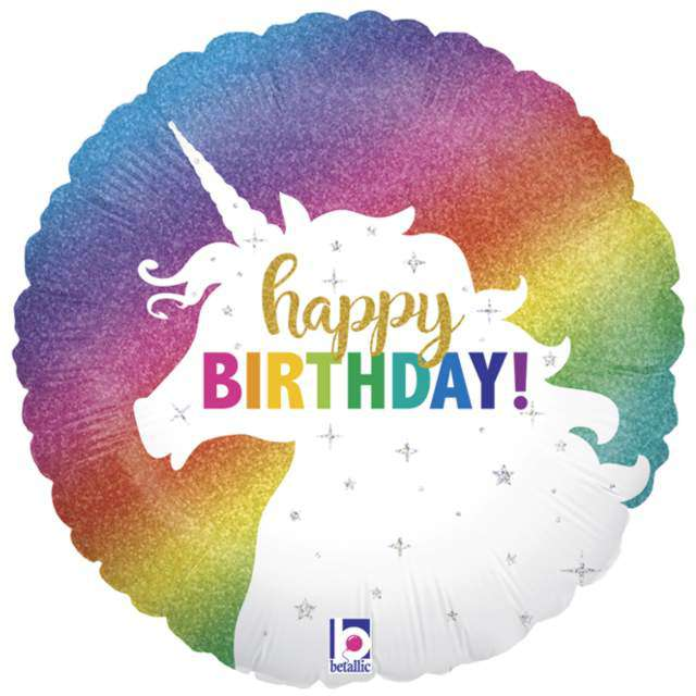 "Balon foliowy ""Happy Birthday Glitter Unicorn"", Grabo, 18"""