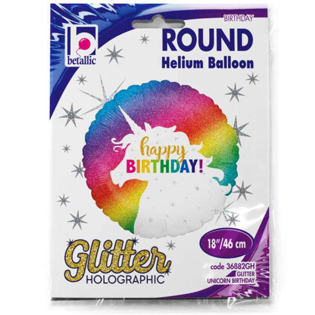 Balon foliowy Happy Birthday Glitter Unicorn Grabo 18