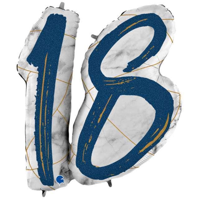 """Balon foliowy """"Marmur 18"""", granatowy, Grabo, 38"""", SHP"""