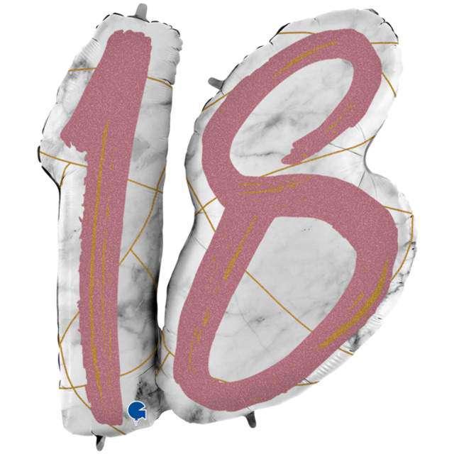 """Balon foliowy """"Marmur 18"""", różowe złoto, Grabo, 38"""", SHP"""