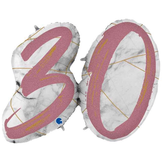 """Balon foliowy """"Marmur 30"""", różowe złoto, Grabo, 43"""", SHP"""
