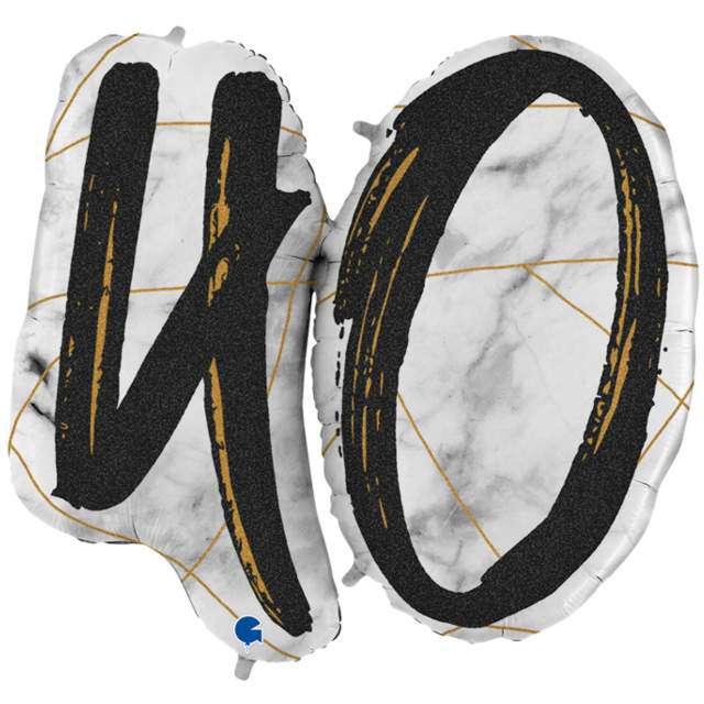"Balon foliowy ""Marmur 40"", czarny, Grabo, 40"", SHP"