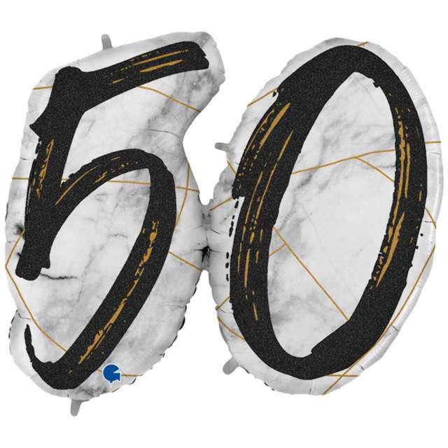 "Balon foliowy ""Marmur 50"", czarny, Grabo, 44"", SHP"