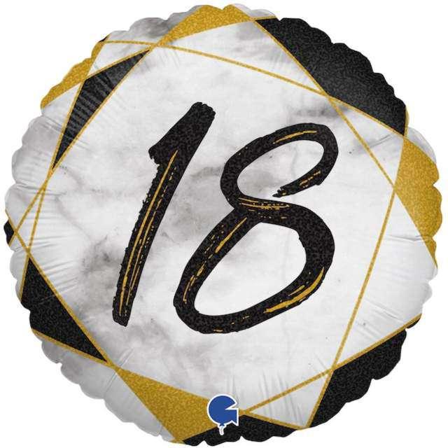 "Balon foliowy ""Marmur 18"", czarny, Grabo, 18"", RND"