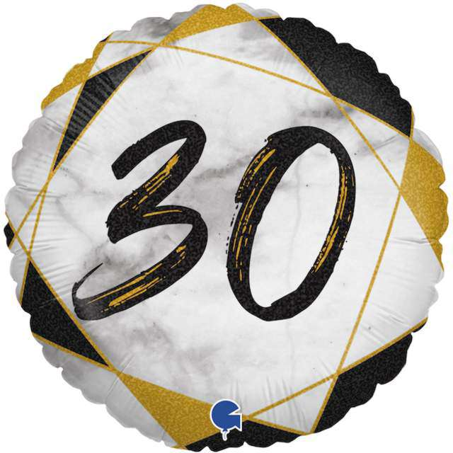 "Balon foliowy ""Marmur 30"", czarny, Grabo, 18"", RND"