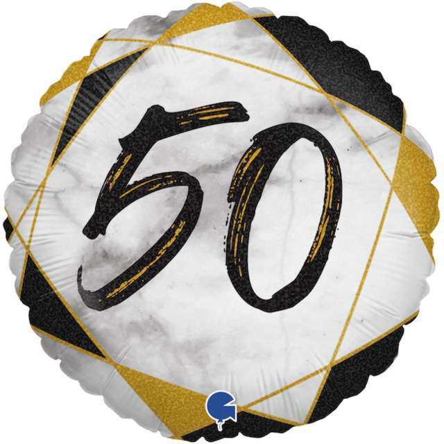 "Balon foliowy ""Marmur 50"", czarny, Grabo, 18"", RND"