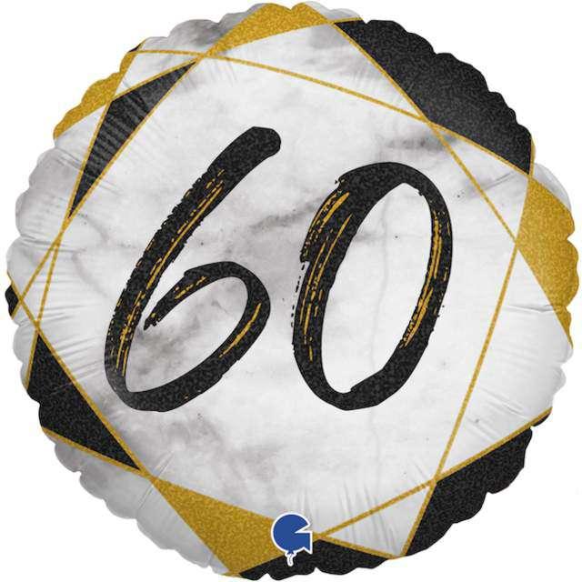 "Balon foliowy ""Marmur 60"", czarny, Grabo, 18"", RND"