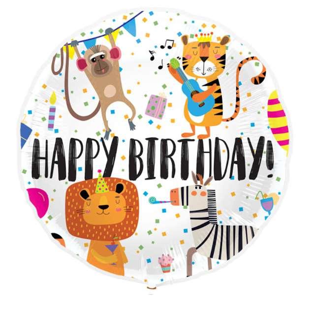 Balon foliowy Happy Birthday zwierzęta Folat 18 RND