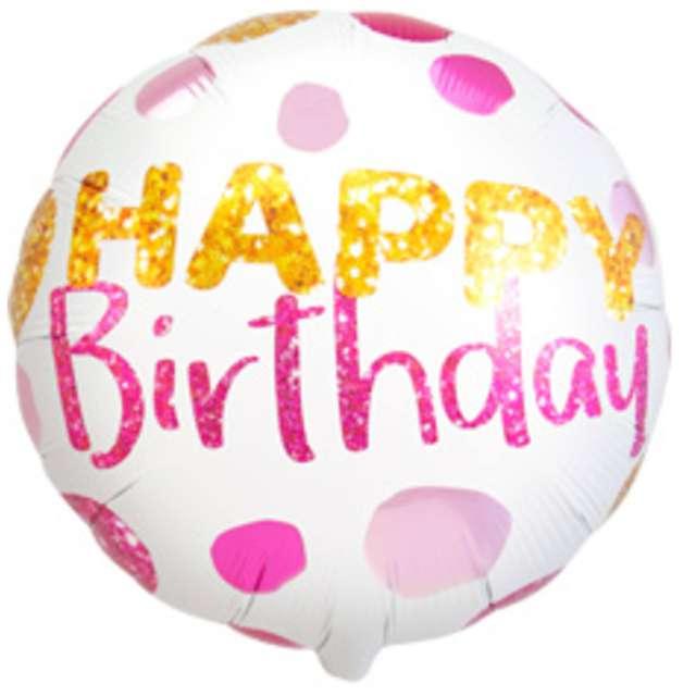 "Balon foliowy ""Happy Birthday kropki"", Folat, 18"" RND"