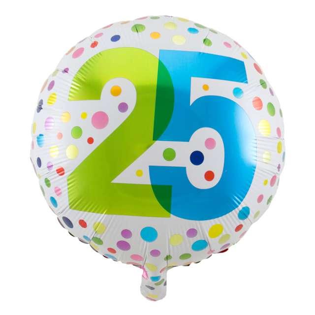 """Balon foliowy """"Urodziny 25 kolorowe kropki"""", Folat, 18"""" RND"""