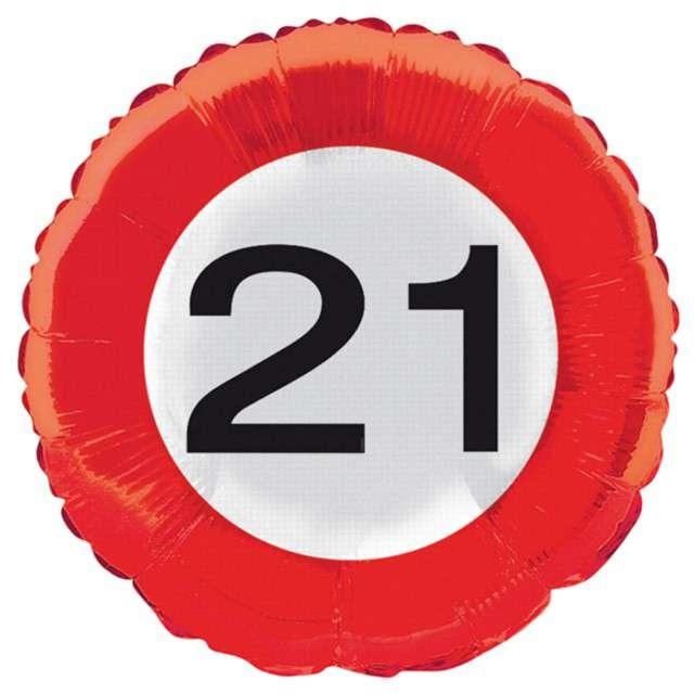"Balon foliowy ""Urodziny 21 Traffic Birthday"", Folat, 18"" RND"