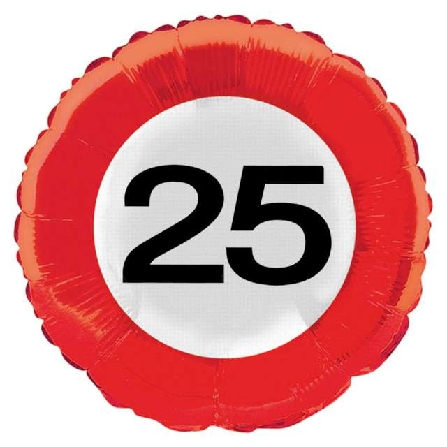 "Balon foliowy ""Urodziny 25 Traffic Birthday"", Folat, 18"" RND"