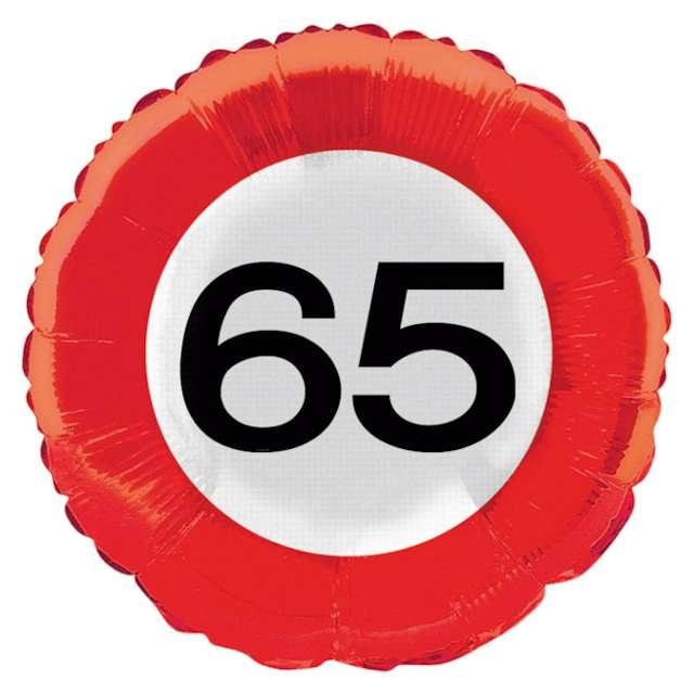 "Balon foliowy ""Urodziny 65 Traffic Birthday"", Folat, 18"" RND"