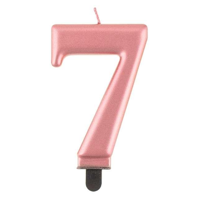 """Świeczka na tort """"7"""", różowe złoto, Godan"""