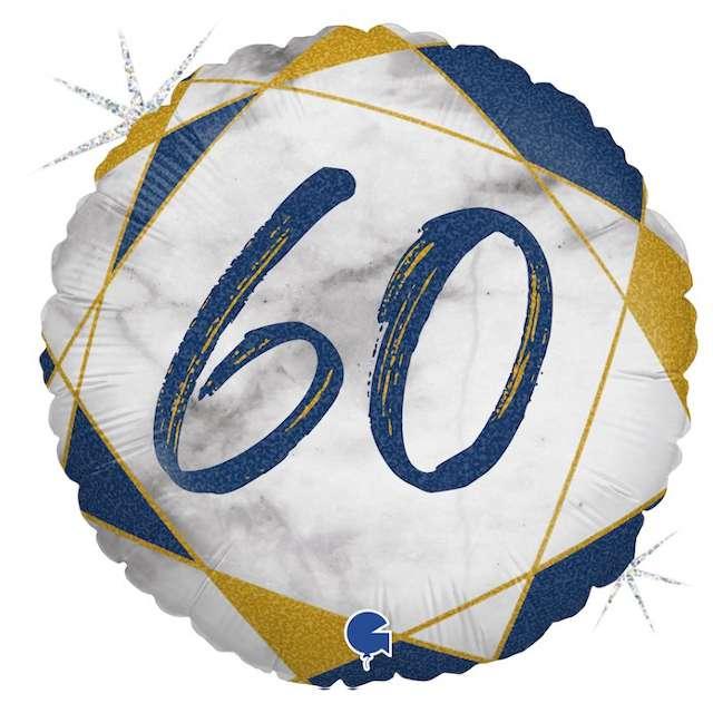 """Balon foliowy """"Marmur 60"""", granatowy, Grabo, 18"""", RND"""