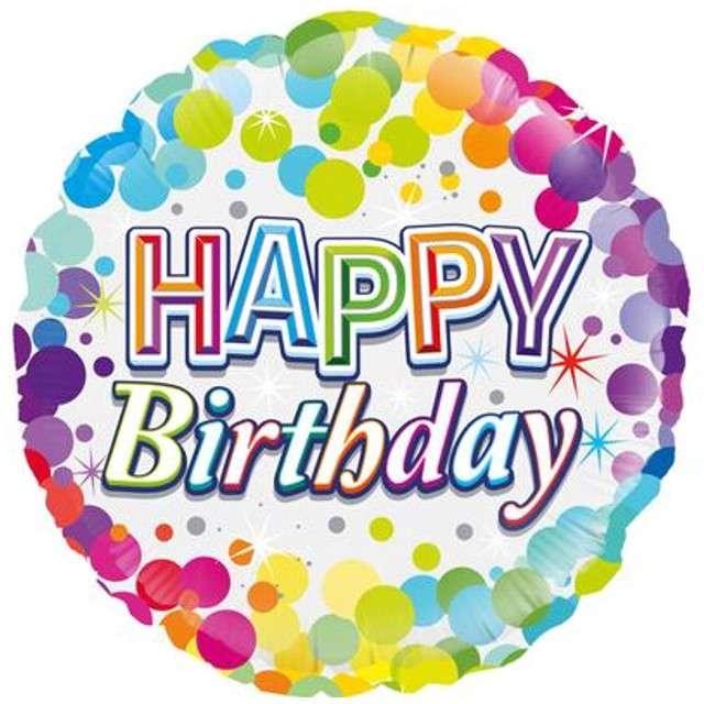 """Balon foliowy """"Happy Birthday Tęczowe"""", Oaktree, 18"""""""