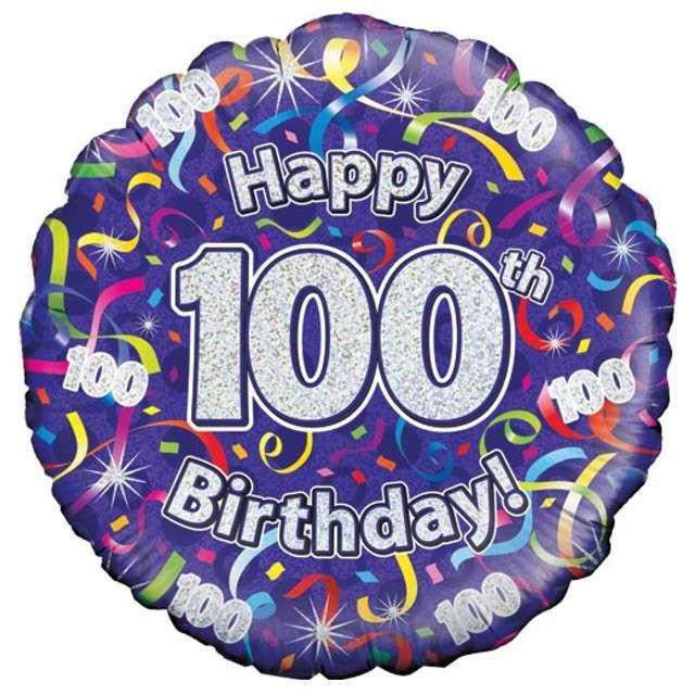 "Balon foliowy ""Happy Birthday 100 lat"", fioletowy holograficzny, Oaktree 18"""