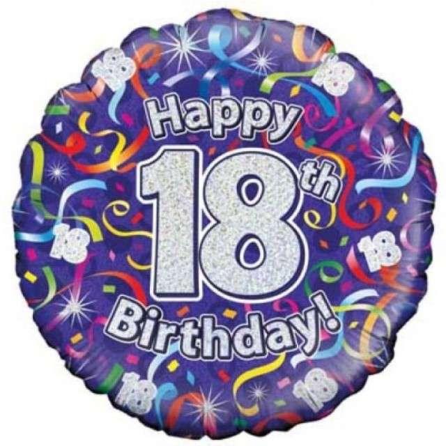 """Balon foliowy """"Happy Birthday 18"""", fioletowy holograficzny, Oaktree, 18"""""""