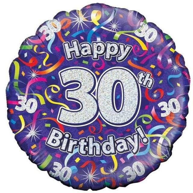 """Balon foliowy """"Happy Birthday 30"""", fioletowy holograficzny, Oaktree, 18"""""""