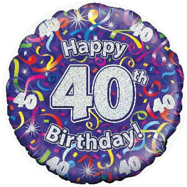 """Balon foliowy """"Happy Birthday 40"""", fioletowy holograficzny, Oaktree, 18"""""""