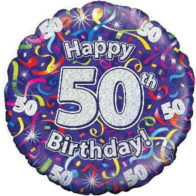 """Balon foliowy """"Happy Birthday 50"""", fioletowy holograficzny, Oaktree, 18"""""""