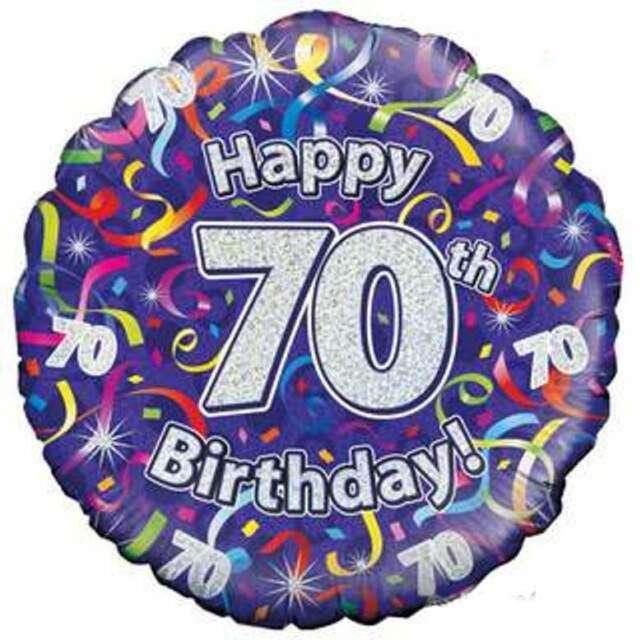 """Balon foliowy """"Happy Birthday 70"""", fioletowy holograficzny, Oaktree, 18"""""""