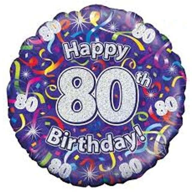 """Balon foliowy """"Happy Birthday 80"""", fioletowy holograficzny, Oaktree, 18"""""""