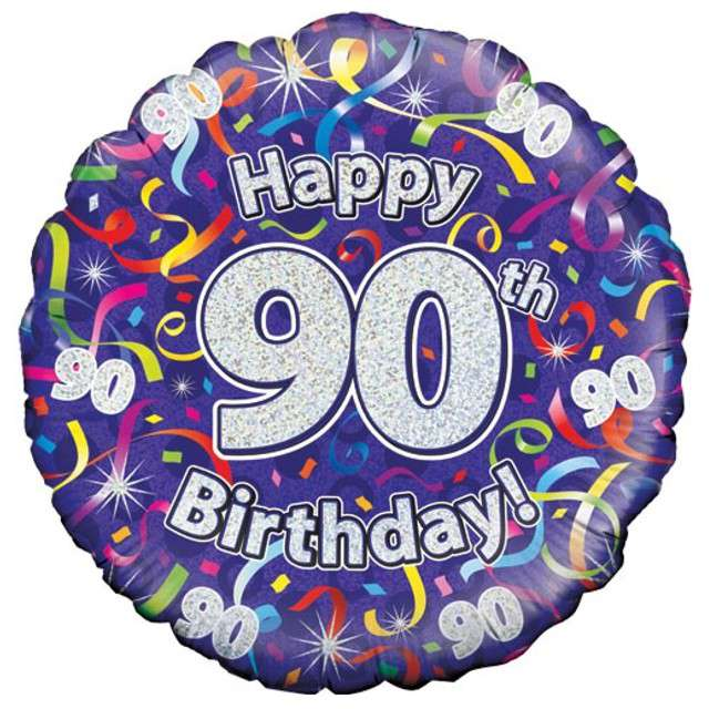 """Balon foliowy """"Happy Birthday 90"""", fioletowy holograficzny, Oaktree, 18"""""""