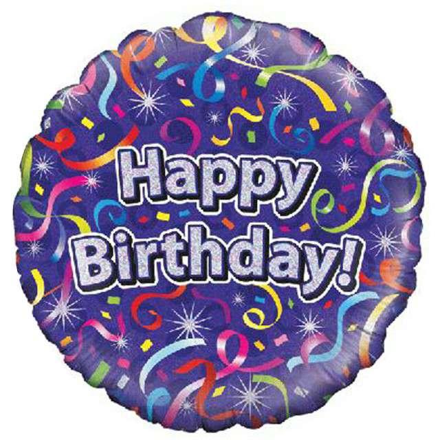 """Balon foliowy """"Happy Birthday"""", fioletowy holograficzny, Oaktree, 18"""""""