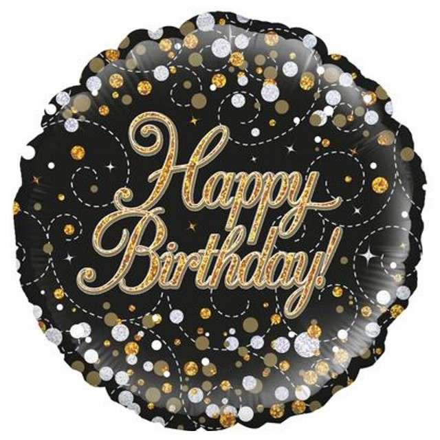 """Balon foliowy """"Happy Birthday"""", czarny holograficzny, Oaktree, 18"""", RND"""