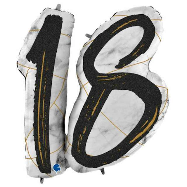 "Balon foliowy ""Marmur 18"", czarny, Grabo, 38"", SHP"