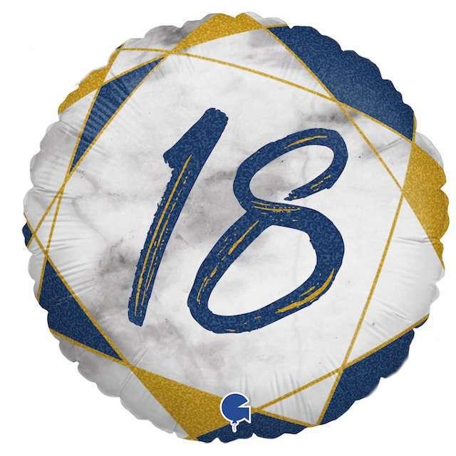 """Balon foliowy """"Marmur 18"""", granatowy, Grabo, 18"""", RND"""