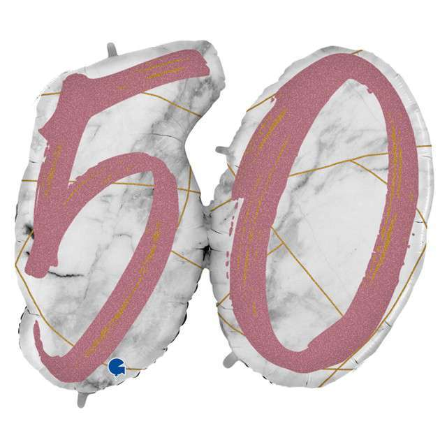 "Balon foliowy ""Marmur 50"", różowy, Grabo, 44"", SHP"