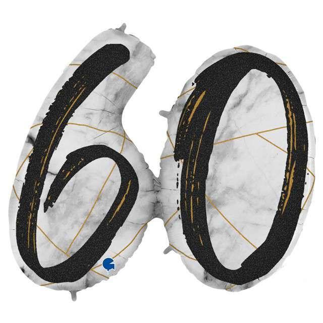 "Balon foliowy ""Marmur 60"", czarny, Grabo, 43"", SHP"
