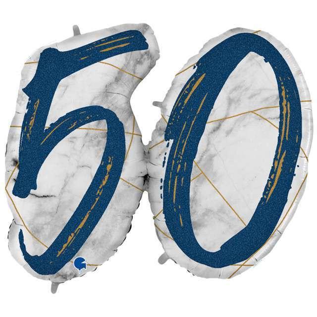 """Balon foliowy """"Marmur 50"""", granatowy, Grabo, 44"""", SHP"""