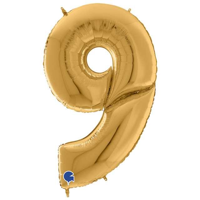 """Balon foliowy """"Cyfra 9"""", złoty, Grabo, 64"""", SHP"""