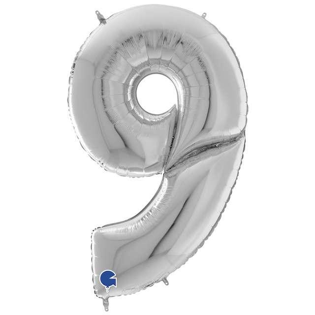 """Balon foliowy """"Cyfra 9"""", srebrny, Grabo, 64"""", SHP"""