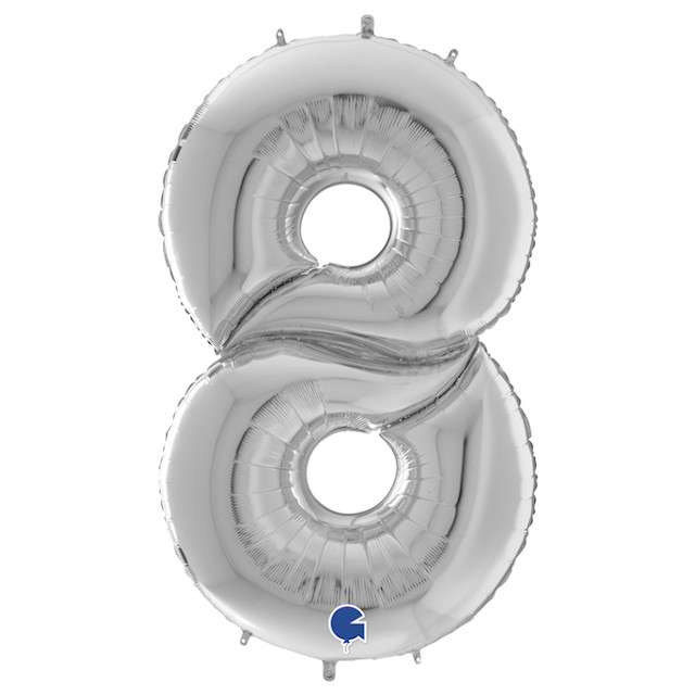 """Balon foliowy """"Cyfra 8"""", srebrny, Grabo, 64"""", SHP"""