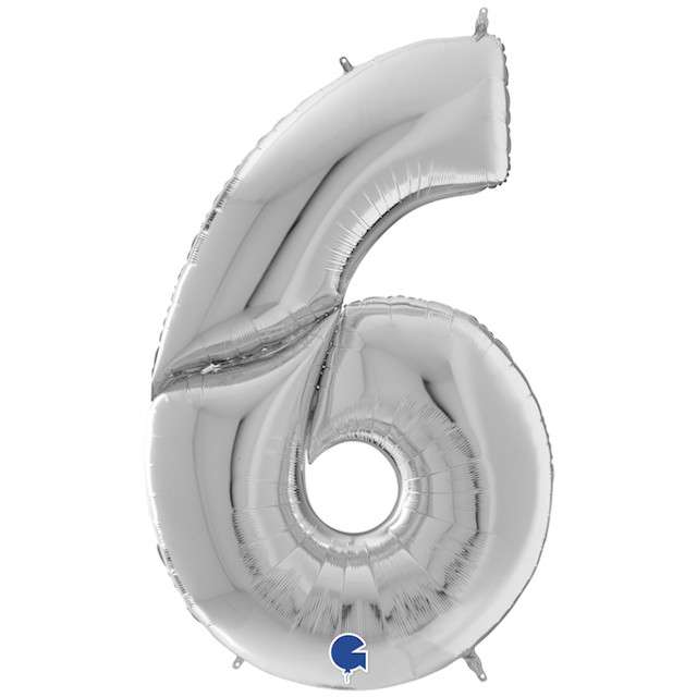 """Balon foliowy """"Cyfra 6"""", srebrny, Grabo, 64"""", SHP"""
