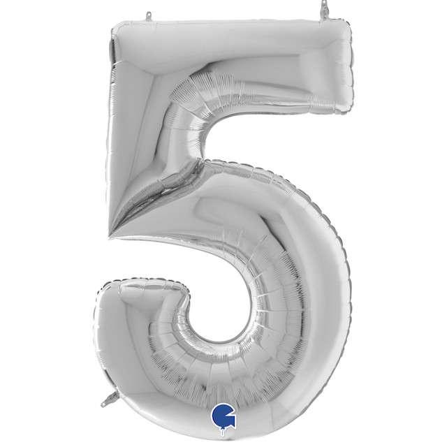 """Balon foliowy """"Cyfra 5"""", srebrny, Grabo, 64"""", SHP"""
