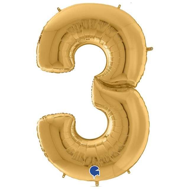 """Balon foliowy """"Cyfra 3"""", złoty, Grabo, 64"""", SHP"""