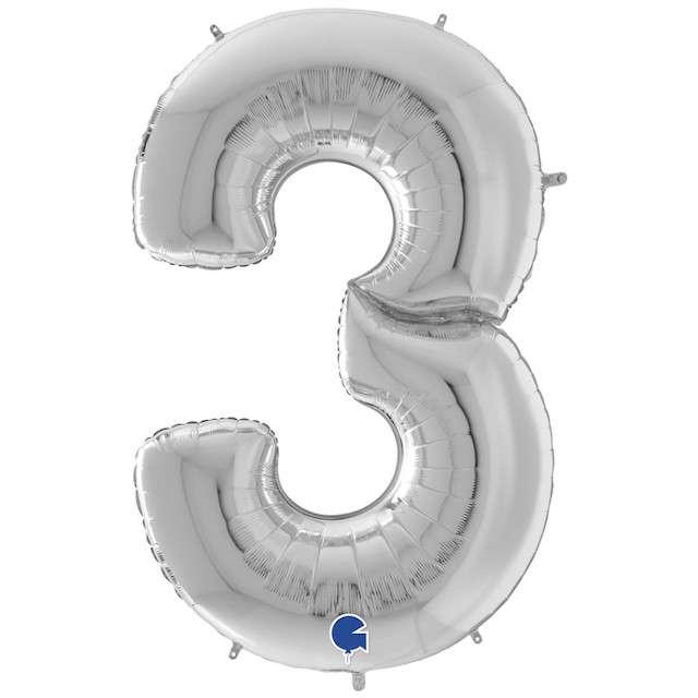 """Balon foliowy """"Cyfra 3"""", srebrny, Grabo, 64"""", SHP"""