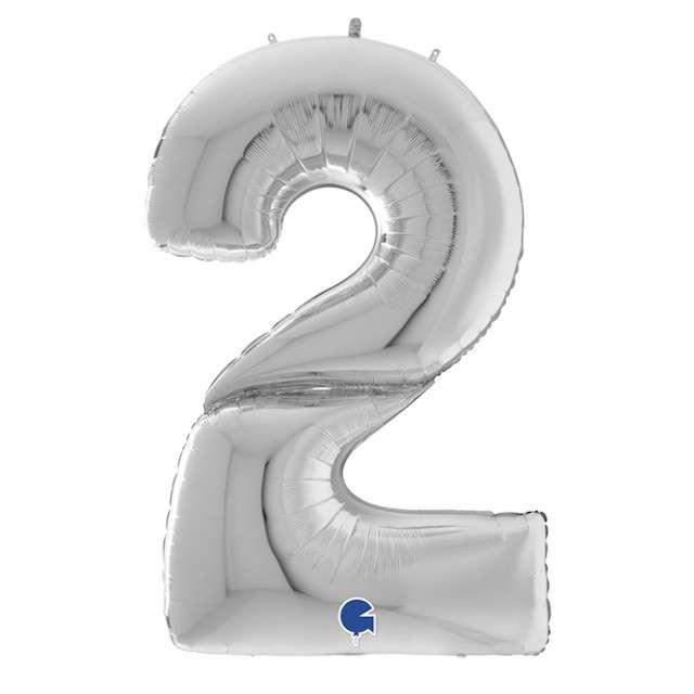 """Balon foliowy """"Cyfra 2"""", srebrny, Grabo, 64"""", SHP"""