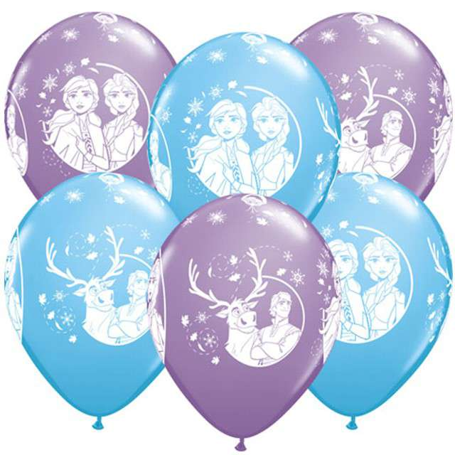 """Balony """"Kraina Lodu 2"""", pastel mix, QUALATEX, 12"""", 6 szt"""