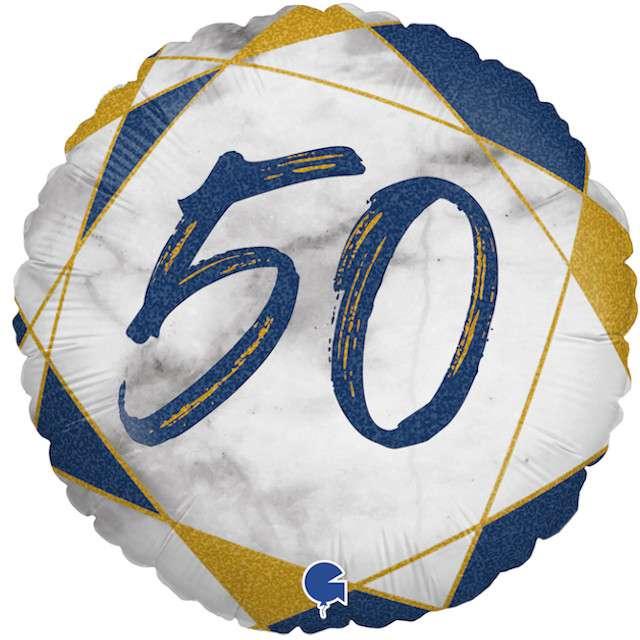 """Balon foliowy """"Marmur 50"""", granatowy, Grabo, 18"""", RND"""
