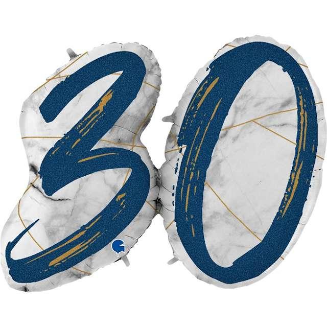 """Balon foliowy """"Marmur 30"""", granatowy, Grabo, 43"""", SHP"""