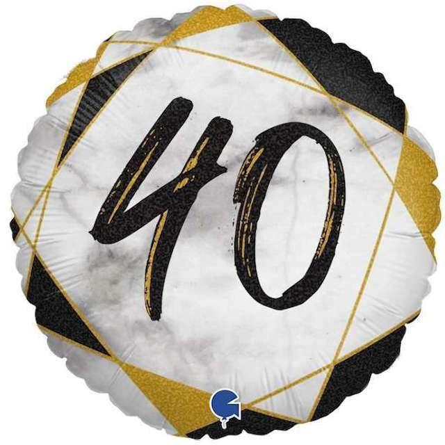 "Balon foliowy ""Marmur 40"", czarny, Grabo, 18"", RND"