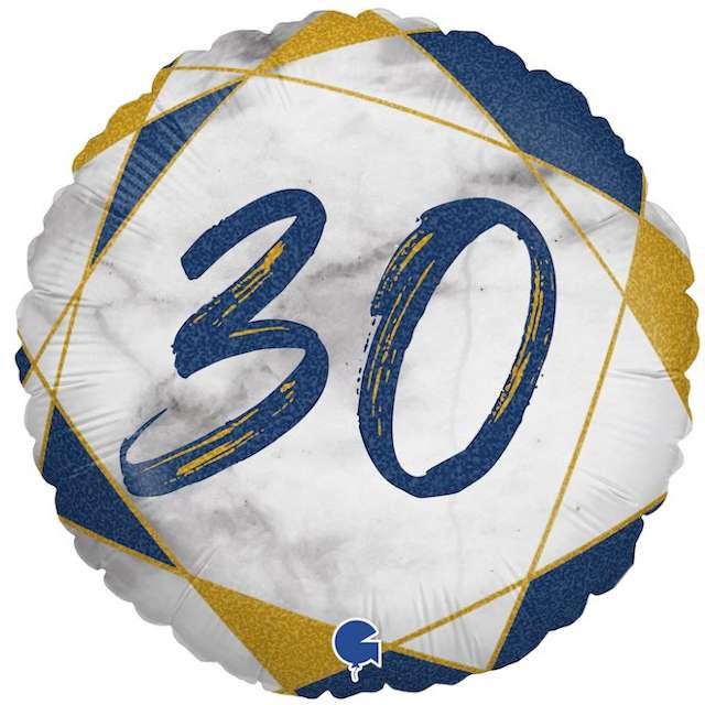 """Balon foliowy """"Marmur 30"""", granatowy, Grabo, 18"""", RND"""