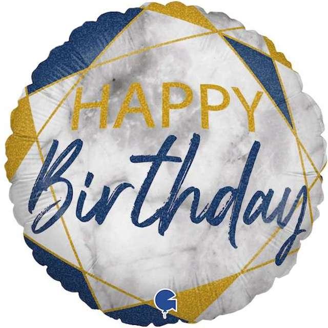 """Balon foliowy """"Happy Birthday"""", granatowy, Grabo, 18"""", RND"""