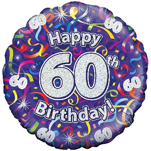 """Balon foliowy """"Happy Birthday 60"""", fioletowy holograficzny, Oaktree, 18"""""""